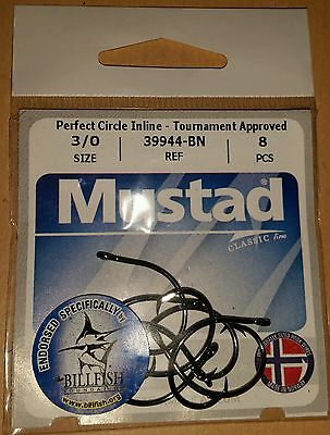 Mustad 39944-BN 5//0 Perfect Circle Inline Tournament Approved Fishing Hooks Qty8
