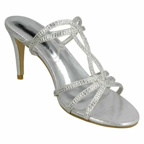 LADIES SLIP ON STRAPPY DIAMANTE HIGH HEEL EVENING PARTY SANDALS SPOT ON F1R0848