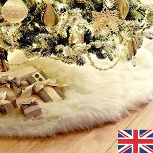 White-Christmas-Tree-Skirt-Base-Faux-Fur-Xmas-Floor-Mat-Ornaments-Decorations-UK