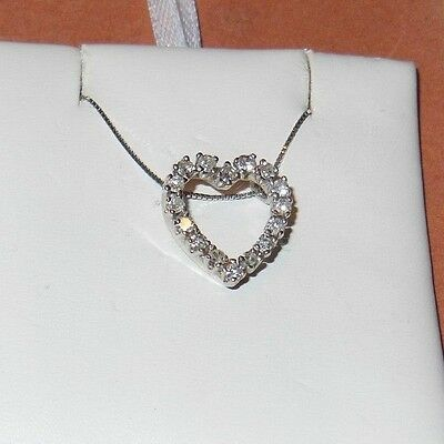 "Vintage 14K White Gold .50 ct round diamond Heart Pendant w/16"" box link chain"