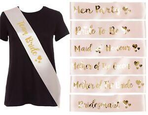 ROSE GOLD HEN PARTY SASH'S GOLD TEXT-BRIDE TO BE-BRIDESMAID HEN DO PARTY WEDDING