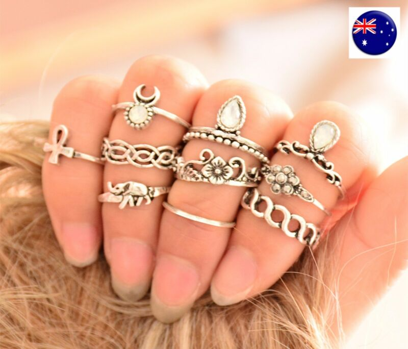 Women 10pc Boho Silver Color Joint Knuckle Stacking Punk Finger Tip Rings Set