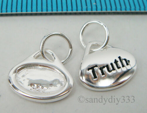 1x STERLING SILVER DANGLE Truth CHARM PENDANT BEAD 11mm  #2030