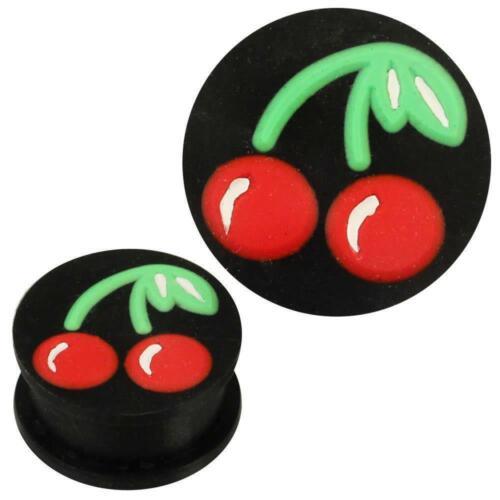 Silicone Plug Doux Noir Rouge Vert cerises Piercing Boucle