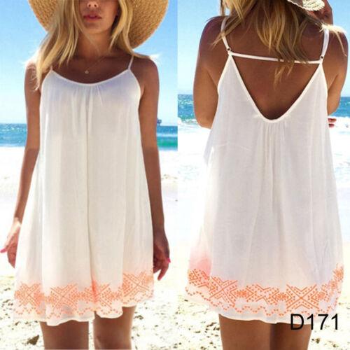 Weiß Damen Boho Kleider Minikleid Stand Sommer Maxikleid Party Cocktail Bademode