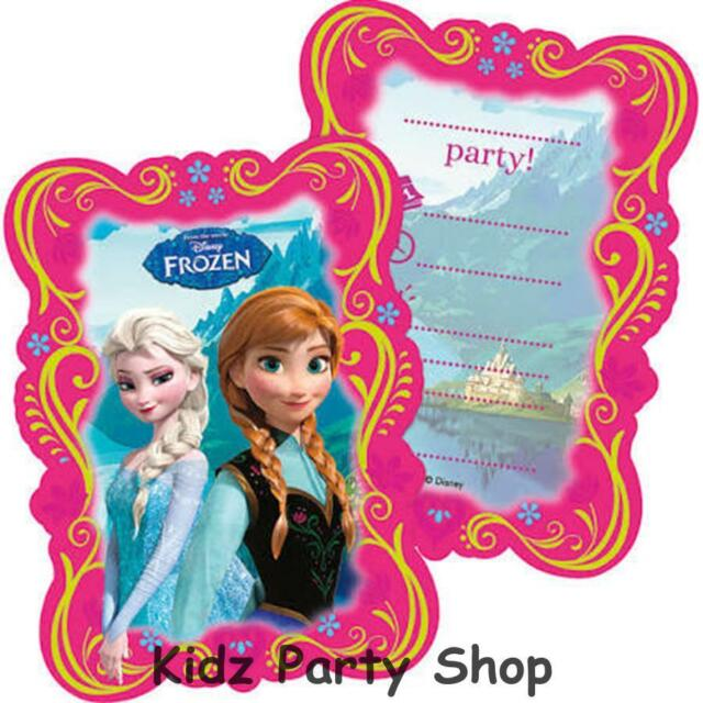 Disney Frozen Kids Birthday Party Invitations Cards X 6 With Pink Envelopes