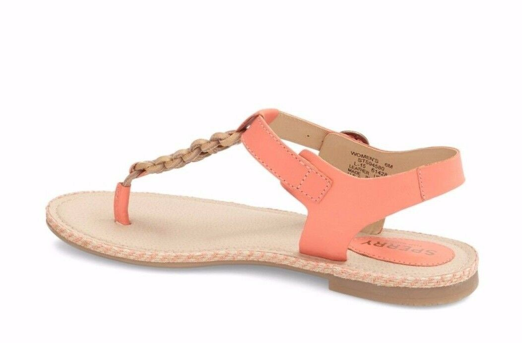New New New SPERRY Anchor Away Sz 7.5 Coral Flat Thong Toe Sandals 1cbae0