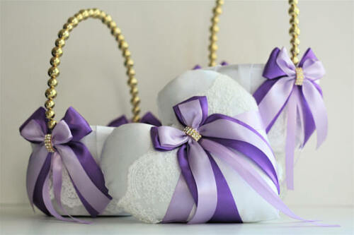 Lace Bearer Pillow Purple Heart Wedding Flower Lace Ring bearer Girl Basket Set