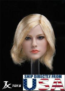 """1//6 Female Head Sculpt Cheveux Noir Pour 12/"""" PHICEN TBLeague Hot Toys figure féminine"""
