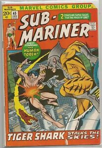 Sub-Mariner-45-Marvel-Bronze-Age-1972-Comic-Book-VF-VF-Human-Torch-App