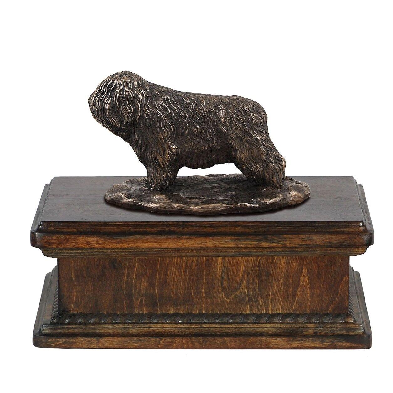 Polish Lowland Sheepdog  exclusive urn with dog statue, High Quality, Art Dog