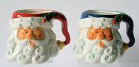 Santa Claus Face Mugs ( Set Of 2 ) Christmas Ceramic In Box