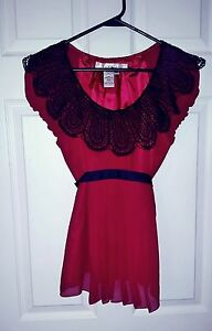 Studio-M-by-Max-Studio-Sz-XS-Steam-Punk-Silk-Chiffon-Red-Black-Crochet-Collar