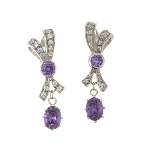 925 Sterling Silver Bow Tie Dangle Earrings with Purple and White CZ Stones