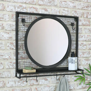 Round Black Metal Wall Mirror Shelf Hanging Hooks Rustic Industrial Bathroom Ebay