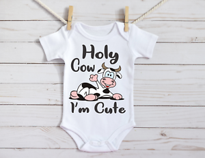 Gender Reveal I/'m Cute Baby on a Gerber Onesie Baby Announcement Holy Cow