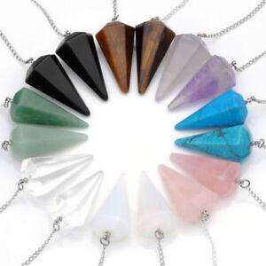 Crystal-Gemstone-Quartz-Pendulum-Healing-Dowsing-Reiki-Chakra-Pendant-Chain-BS