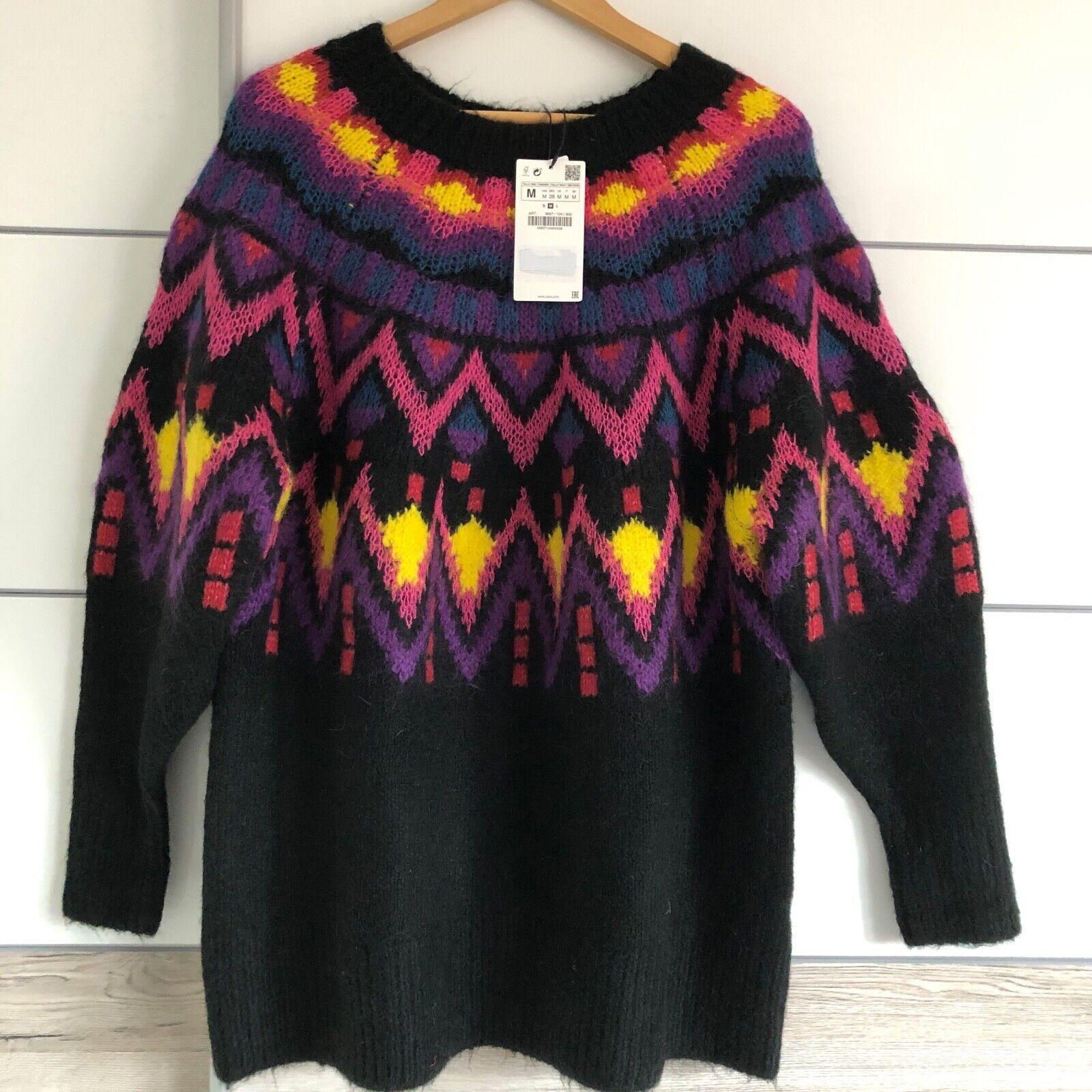 Zara overTalla-suéter de Jacquard Sweater Sweater Sweater maxipulli manga talla m dae8fb