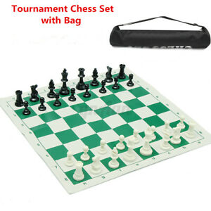 32-pieces-Plastic-Tournament-Chess-Set-Roll-Mat-w-Bag-Camping-Travel-Gifts