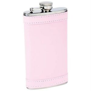 2-Flasks-Maxam-6oz-Drinkware-Stainless-Steel-Pink-Faux-Leather-Wrap-KTFLKPW6