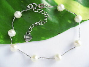 925 Stamped Sterling Silver Round Real Cultured Freshwater Pearl Bracelets gift