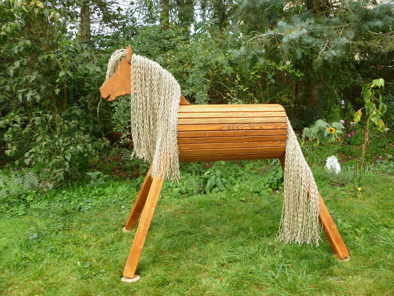 110cm Holzpferd Voltigierpferd Pferd Pony Fuchs mit Maul wetterfest NEU