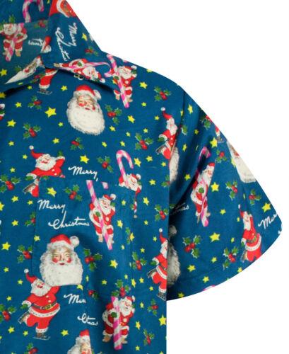 Funky Hawaiian Shirt Christmas Candycane Blue