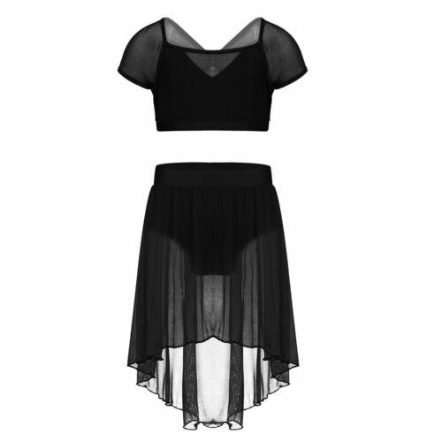 Girls Lyrical Dance Praise Leotard Dress Ballet Crop Tops+Skirt Shorts Costume