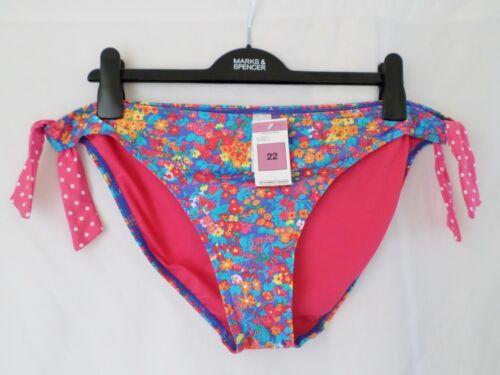M/&S Marks /& Spencer Hipster-Bikini Seitenschnüre Böden Blau Mehrfarbiges