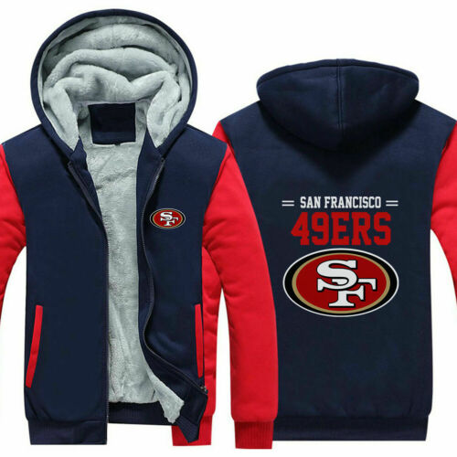 San Francisco 49ers Hoodie Winter Fleece Sweatshirt Full-Zip Coat Warm Jacket