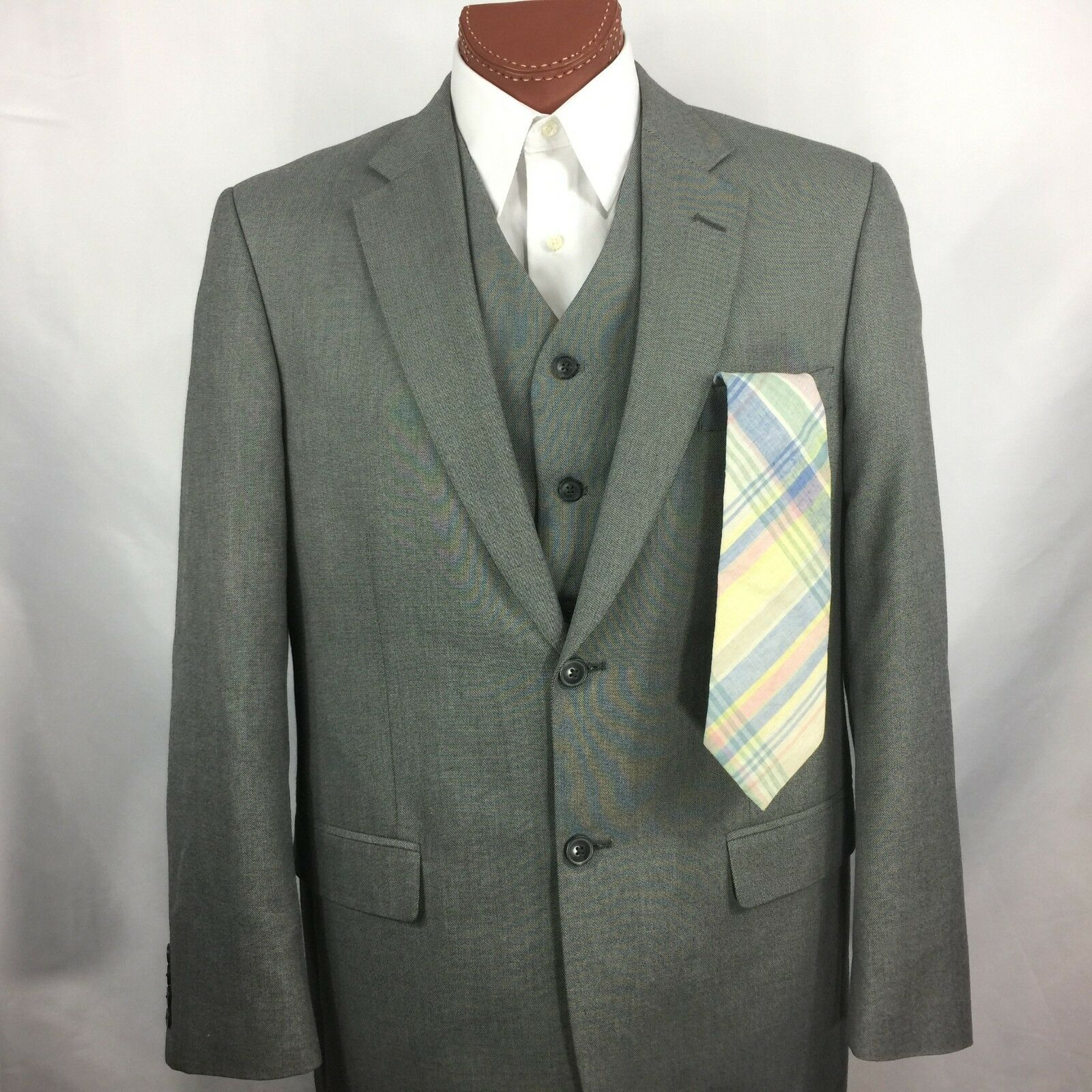SADDLEBROT - 42L grau 2 Piece Suit Vest & Blazer Sports Coat Vented FREE TIE Men