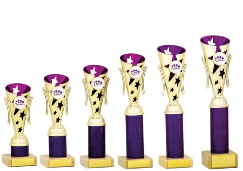 Gold and Purple Modern Star Cups Dance Achievement Trophies FREE Engraving