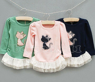 New Design Kids Toddler Clothes Girls Cat Lace Long Sleeve Shirts Tops Sz2-6Y