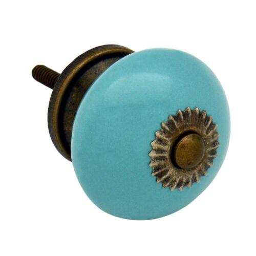 x1 Turquoise Ceramic Door Knob Cabinet Drawer Luxury Handle