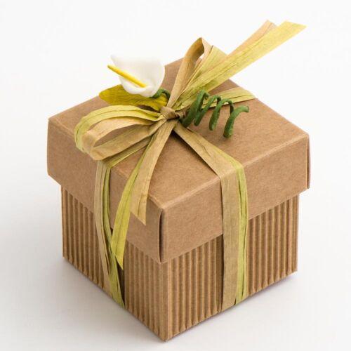 Ondulé Boîte Carrée et Couvercle Pack de 10 Mariage Faveur Cadeau Naturel 11618