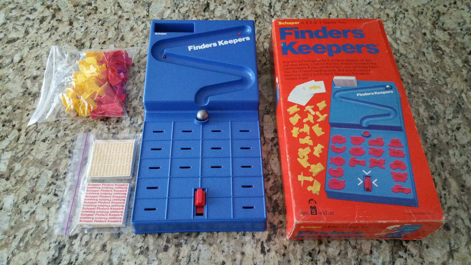 Vintage 1977 Schaper Finders Keepers Game - Metal Marble - Complete Set - RARE