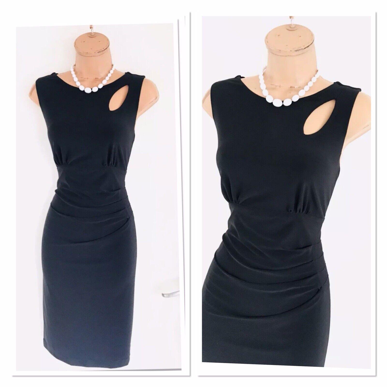 Stunning FRANK LYMAN schwarz  Keyhole Detail  Gatherot  Jersey Bodycon Dress