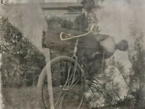 c-1900-Double-Exposed-Boy-w-Antique-Bicycle-Vintage-Photo-Glass-Plate-Negative