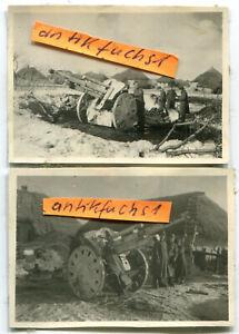 2 Fotos : WH-Geschütz in Winter-Stellung im Dorf Prischib / Ukraine im 2.WK