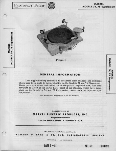 1950 Markel 74 75 Record Player Changer Service Manual Photofact Schematic Phono Een Grote Verscheidenheid Aan Modellen