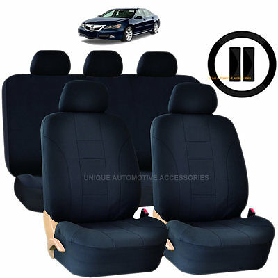 12PC SOLID BLACK DOUBLE STITCH SEAT COVERS & STEERING WHEEL COMBO FOR CARS 1024
