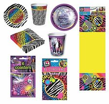 1980s Party Disco Accessories Napkins Plates Cups Coasters Fancy Dress