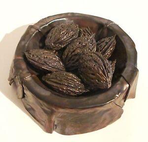 Lost-Wax-Cast-Bronze-034-Peach-Pits-in-Copper-Bowl-034-Decorative-Fine-Art