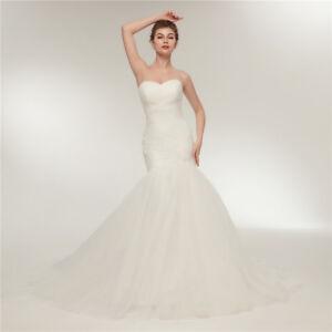 Image Is Loading Y Sweetheart Mermaid Wedding Dresses White Ivory Tulle