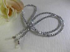 SPECTACULAR SILVER Swarovski Bi-Cone Shaped Crystal Beaded Eyeglass Chain~Holder