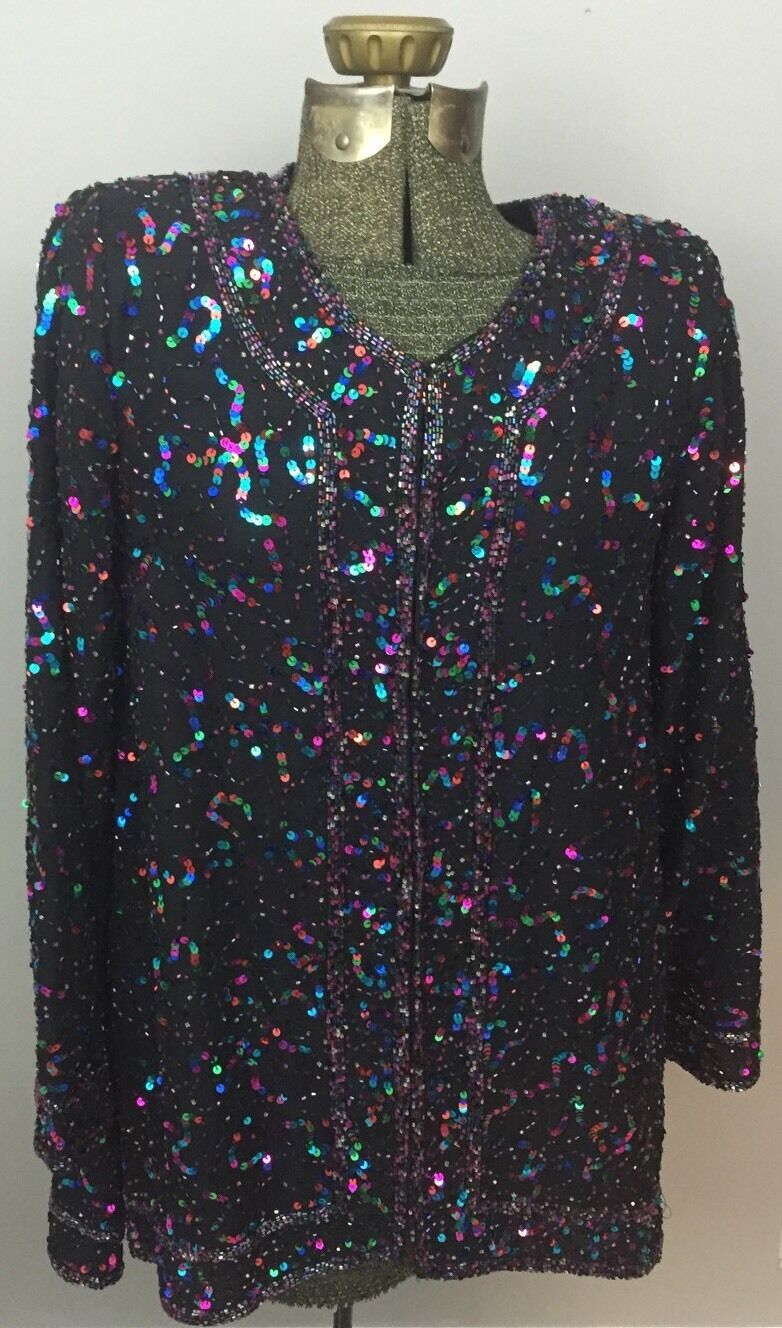 Small Black Silk Evening Jacket Multcolor Sequins Pink Green Blue Somewhat Sheer