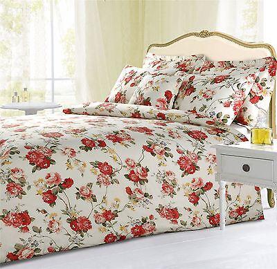 Bettwäschegarnituren Rebe Blume Sträuße Rot Rosa Creme Einzeln Baumwollgemisch Bettbezug
