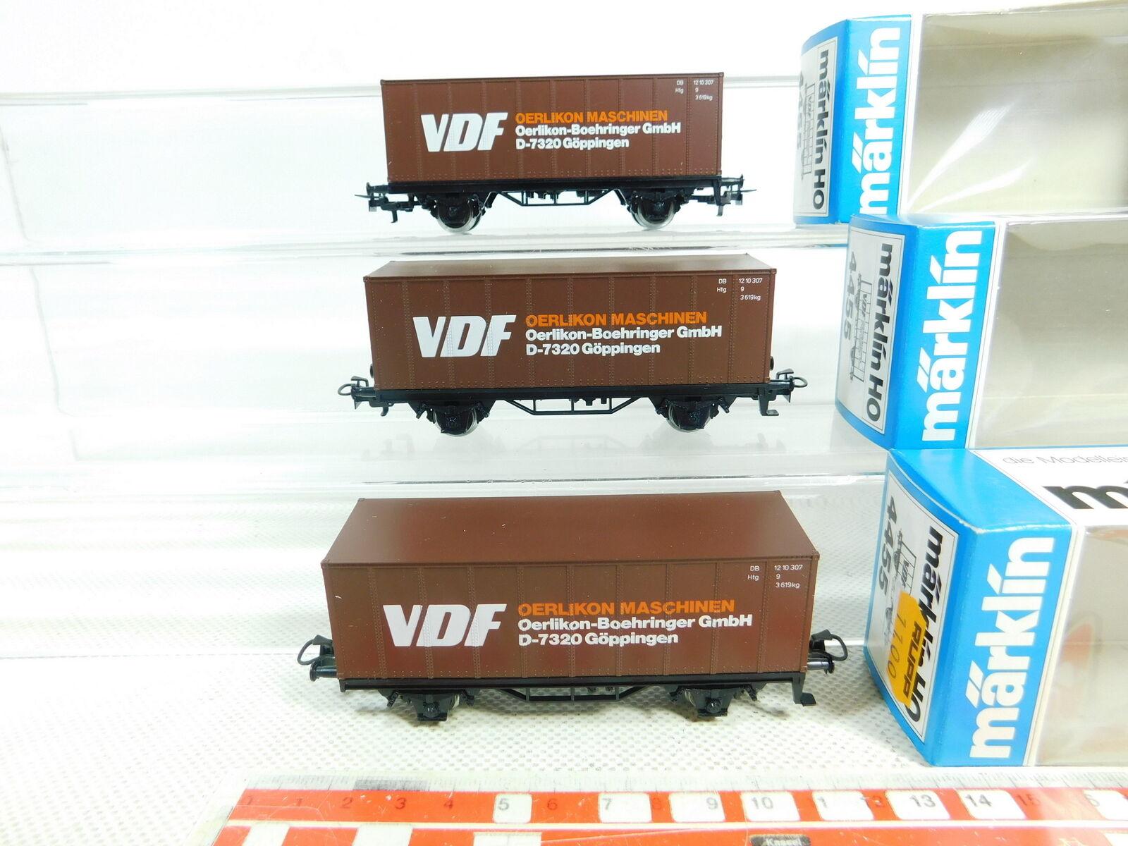 Bs628-0, 5  3x Märklin h0 ac 4455 container Carrello VDF Oerlikon DB Neuw; OVP