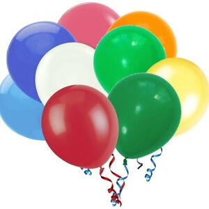 100 Premium Quality Balloons Assorted Colour Durable Latex Birthday Party Plain