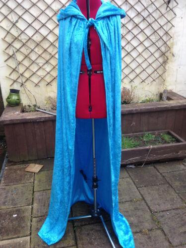 HL cape cloak 135 cm light blue  crushed velvet adult   elsa